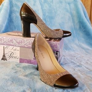💖Ellen Tracy tweed capped heels size7.
