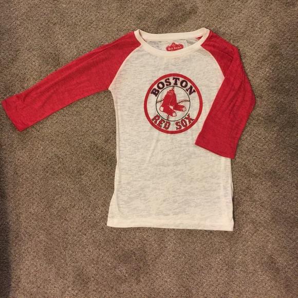66% off Red Jacket Tops - Boston Red Sox Raglan Baseball Tee 3/4 ...