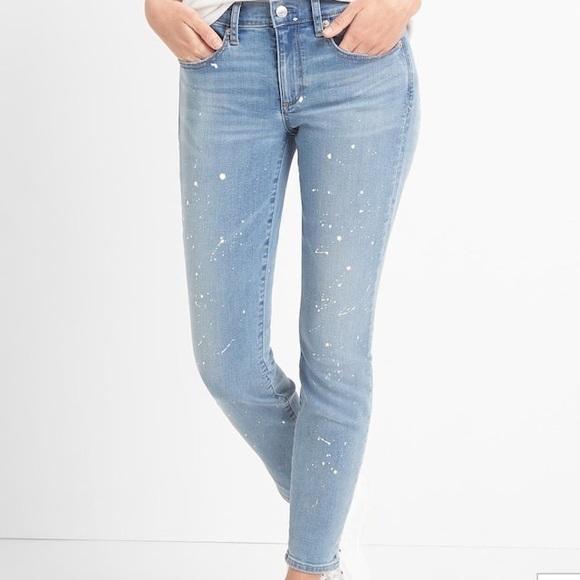 GAP Jeans - Gap paint splatter true skinny ankle jeans