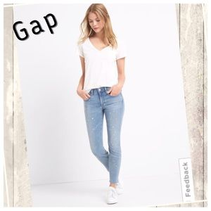Gap paint splatter true skinny ankle jeans