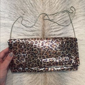 BCBG leopard sequin crossbody or clutch purse NWT