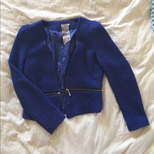 Royal blue blazer with zip detail