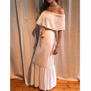 Off the Shoulder White Boho Maxi Dress S