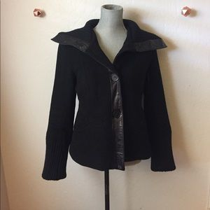 Mackage Black Leather trimmed wool coat Size L