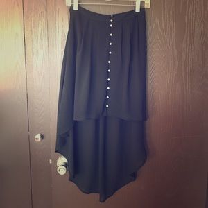 Witchy black high-low button up skirt