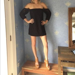 Sage black cut out lace shift dress!