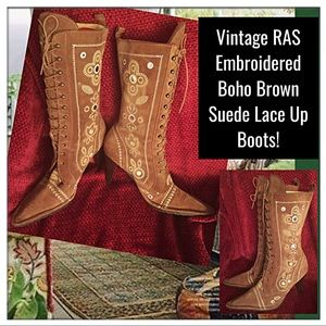 Vtg RAS Embroidered BOHO Brown Suede Lace Up Boots