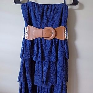 Blue Lace Strapless Dress with Belt