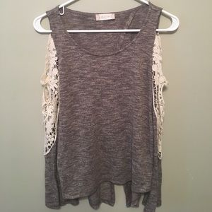 Grey and Cream Lace Detail Cold Shoulder Sweater