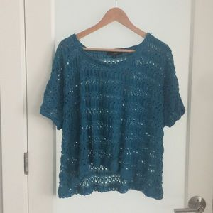 Anthropologie knit top teal  Sz XS