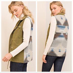 Olive Aztec Vest