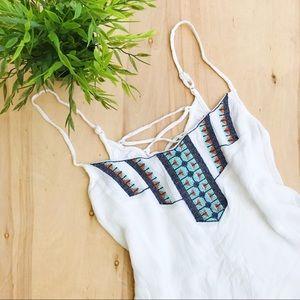 Lulus embroidered white boho blouse