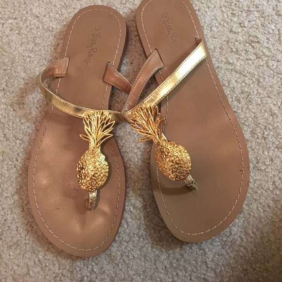 f327e682712b Lilly Pulitzer for Target Shoes - Lilly for target pineapple gold sandals  size 9