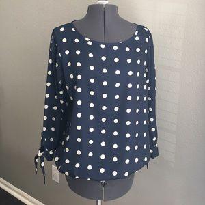 Metaphor cream and navy polkadot blouse large