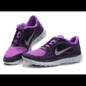 Purple Nike Free Runs 3
