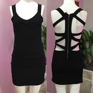 POOF SZ L CUTE OUT BANDAGE DRESS CUTE BLACK