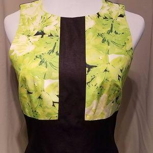 Tibi Sleeveless Lime Green Floral Print Dress 4