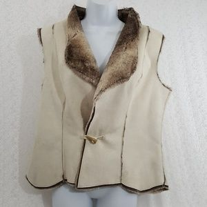 Womens Cold Water Creek Suede Blend Vest