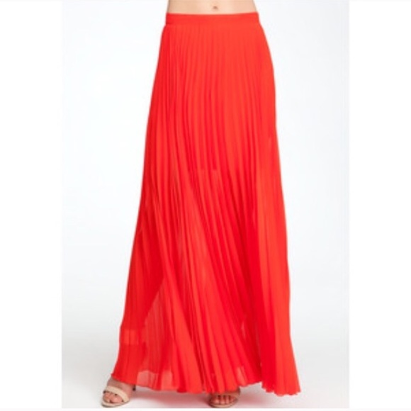 aed1e55df bebe Dresses & Skirts - Bebe red pleated long Maxi skirt size XXS