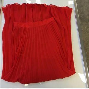 42d2ed0154b5 bebe Skirts | Red Pleated Long Maxi Skirt Size Xxs | Poshmark