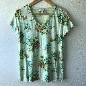 {J.Jill} Green Floral V-Neck Linen Top, Size Small