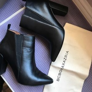 BCBG black leather ankle bootie