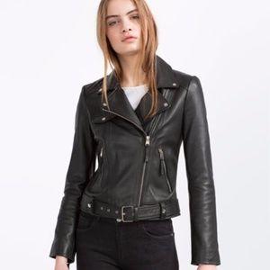 Zara Leather Moto Jacket Black XS 5479