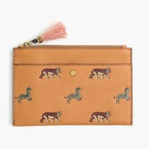J.crew leather medium pouch in animal print