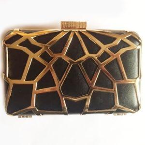 NWT geometric clutch black and gold