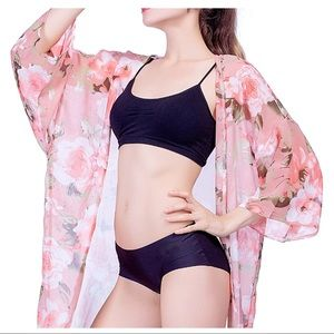 Pink floral kimono beach cover up