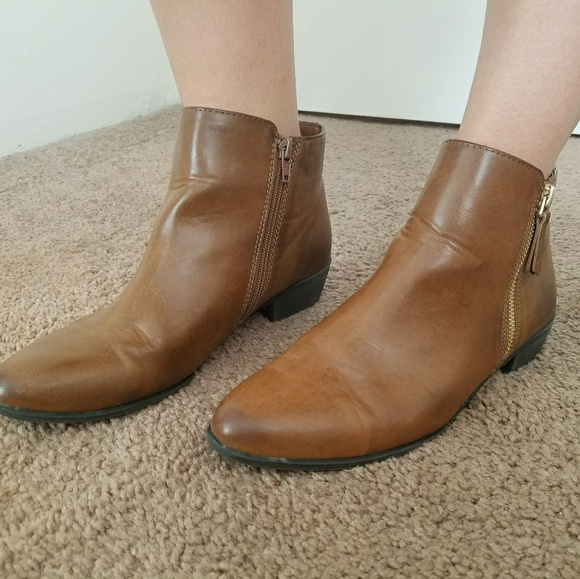 86d586c0e6b jcpenney Shoes - Brown Faux Leather Ankle Boots Gold Zip