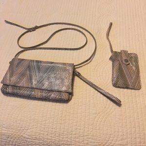 Lodi's snakeskin crossbody purse and wristlet