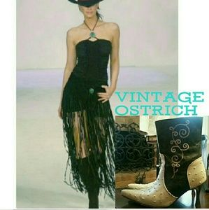 Vintage 'Straight Up Ostrich' Cowboy Boots