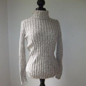 Marl Beige Chunky Ribbed Turtleneck Sweater Large