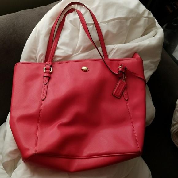 52ca360a4b8 Coach Handbags - Coach Peyton Leather Zip Tote - red