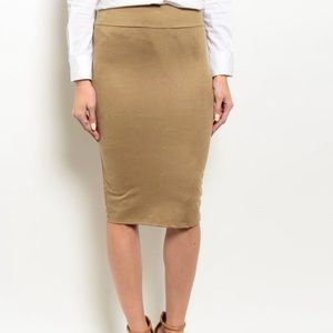 Khaki Suede Pencil Skirt Small Medium Large Womans