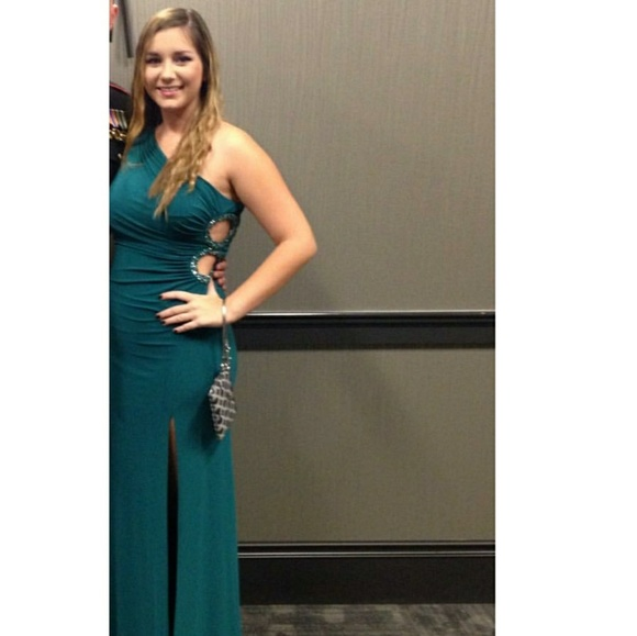 Adrianna Papell Dresses | Green One Shoulder Hailey Logan Prom Dress ...