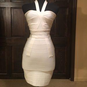 Herve Leger White halter bandage dress