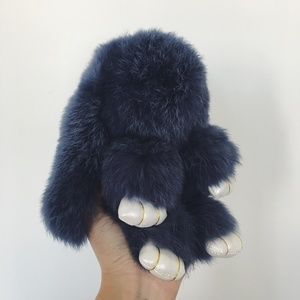 Gray Blue Rabbit Fur Bunny Keychain