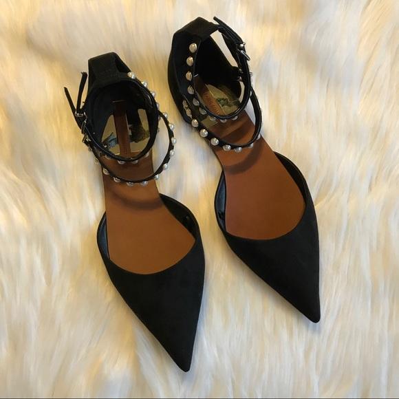 2f0b406f763 Zara Pointy Black Pearl Ankle Strap Flats. M 59dab8c38f0fc4715c0109f2