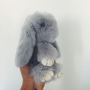 Light Gray Rabbit Fur Bunny Keychain