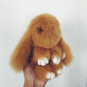 Accessories - Tan Rabbit Fur Bunny Keychain