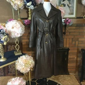 UNBRANDED VINTAGE CHOCOLATE LEATHER TRENCH COAT