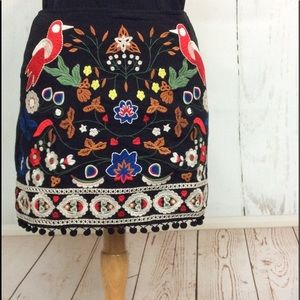 High-Waisted Embroidered Mini Skirt