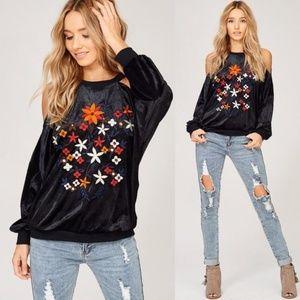 Black Velvet Cold Shoulder Embroidered Sweater
