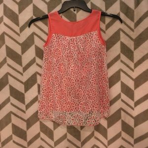Shirts & Tops - Girls coral colored with lace tank