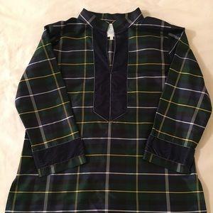 Devon Baer Navy & Green Plaid Silk Blouse