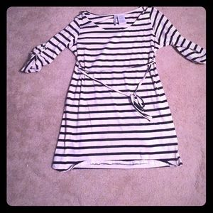 Black white stripe tie waist 3/4 sleeve top tunic