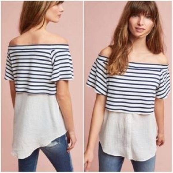 a6dbec9be47a99 NWT Anthropologie layered off-shoulder tunic. NWT. Anthropologie.  M_59dac01656b2d6a8710127d3. M_59dac01656b2d6a8710127d3