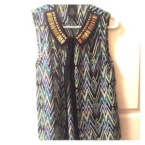 Green and blue chevron tank with beaded neckline